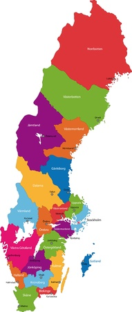 Vector color map of administrative divisions of Sweden Vector