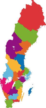 map sweden: Vector color map of administrative divisions of Sweden