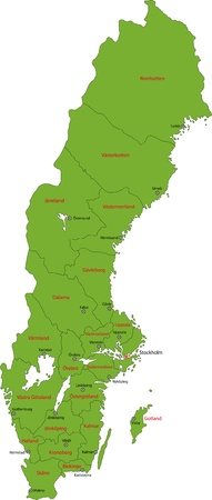 Green map of administrative divisions of Sweden with capital cities Vector
