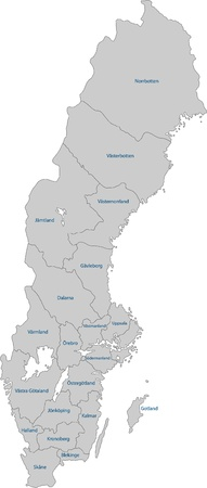 Map of administrative divisions of Sweden Vector