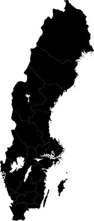 Zweden kaart die in illustratie met de provincies