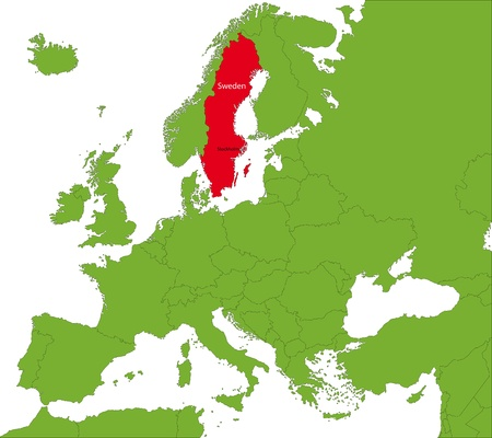 divided: Location of Sweden on the Europa continent