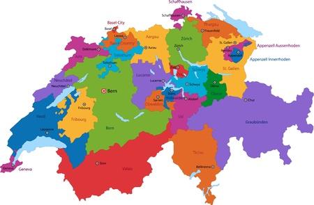 Kleurrijke Zwitserland kaart met staten en grote steden