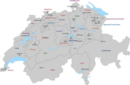 Gray Switzerland map with states and main cities