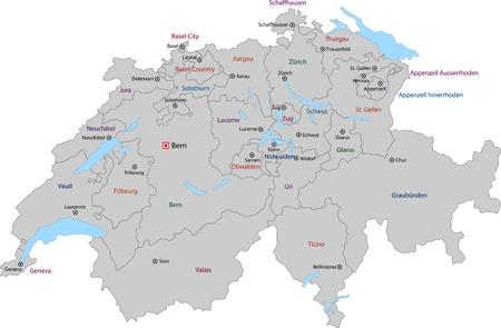 Gris Carte de la Suisse avec les Etats et les principales villes Banque d'images - 21813752