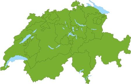 Green Switzerland map 向量圖像