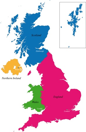 uk map: The countries of the United Kingdom and capital cities Illustration