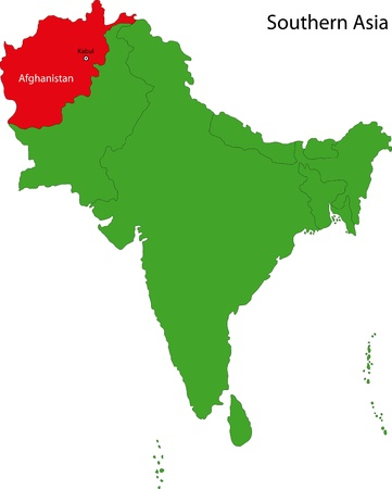 landlocked: Location of Afghanistan on Southern Asia Illustration