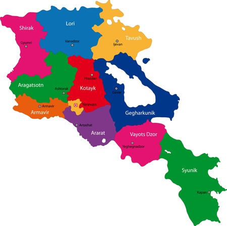 map of armenia: Map of administrative divisions of Armenia Illustration