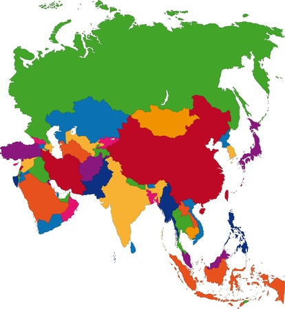 Colorful Asia map with countries Vectores