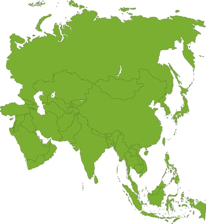 Green Asia map with country borders Vectores