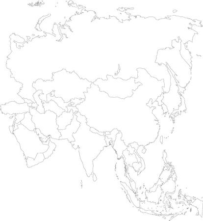 Contour Asien-Karte mit Landesgrenzen Standard-Bild - 21875732
