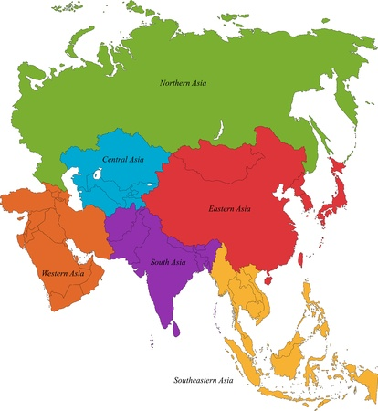 south east asia: Colorful Asia map with six regions