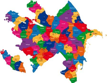 administrative divisions: Map of administrative divisions of Azerbaijan Illustration