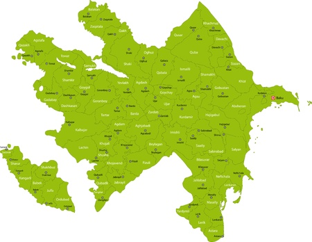 azerbaijan: Map of administrative divisions of Azerbaijan Illustration