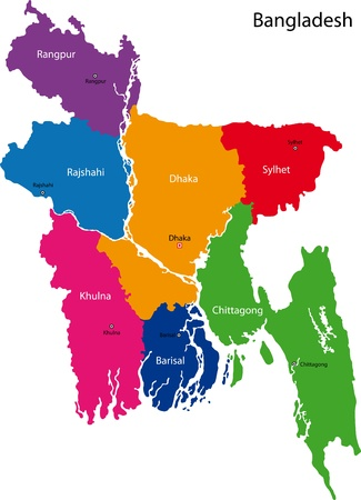 bengali: Map of administrative divisions of Bangladesh