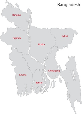 geographically: Map of administrative divisions of Bangladesh