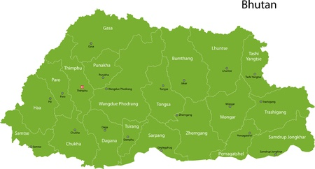 landlocked country: Map of administrative divisions of Bhutan