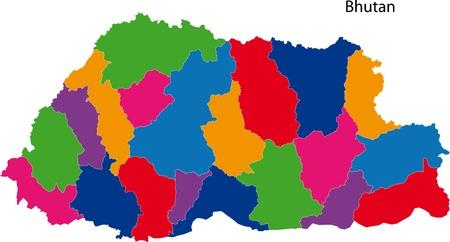 landlocked country: Mapa de las divisiones administrativas de Bhutan Vectores