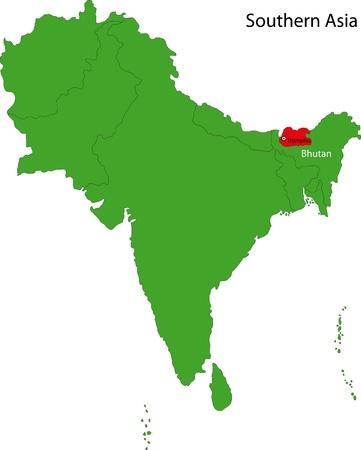 landlocked: Location of Bhutan on Southern Asia