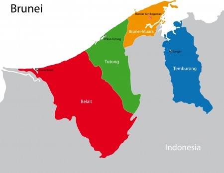 administrative divisions: Map of administrative divisions of Brunei