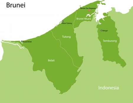 map of brunei: Map of administrative divisions of Brunei