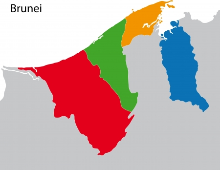geographically: Map of administrative divisions of Brunei