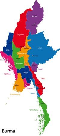 Kaart van de administratieve afdelingen van Birma