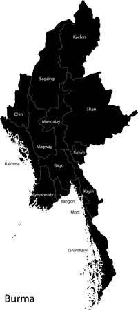 Map of administrative divisions of Burma Vector