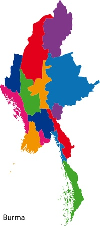 myanmar: Map of administrative divisions of Burma