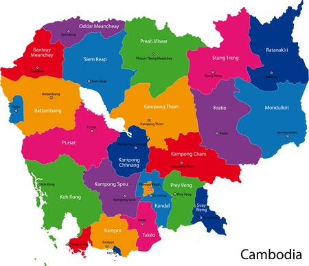politically: Map of administrative divisions of Cambodia