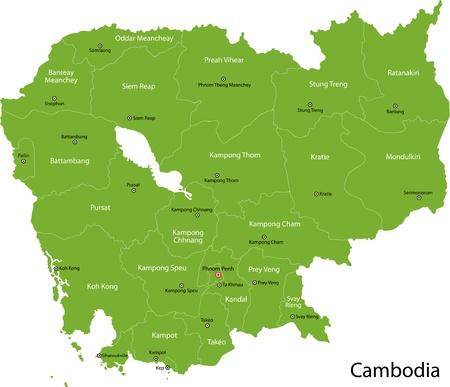 cambodia: Map of administrative divisions of Cambodia