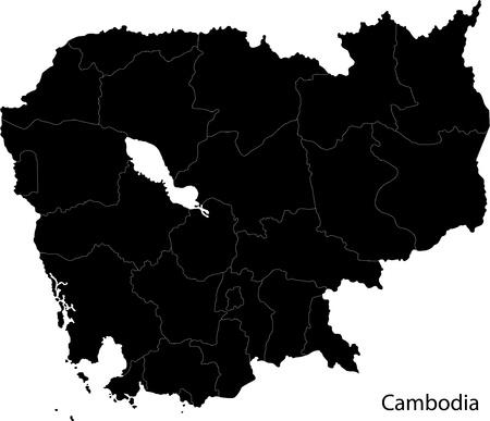 khmer: Cambodia map Illustration