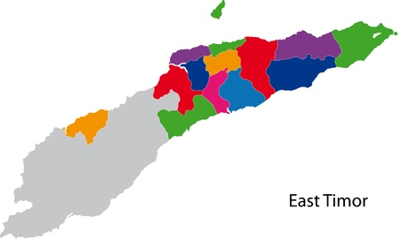 politically: Map of administrative divisions of East Timor