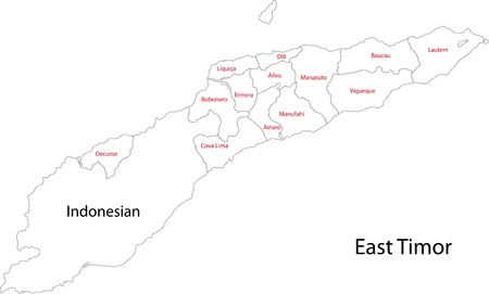 administrative divisions: Map of administrative divisions of East Timor