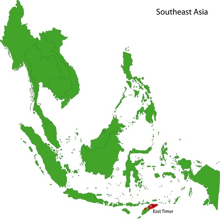 southeast: Location of East Timor on Southeast Asia Illustration