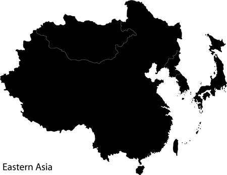 Map of Eastern Asia Vector