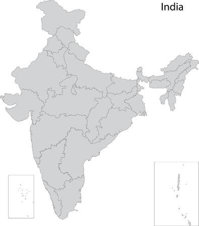mapa politico: Mapa de las divisiones administrativas de la India Vectores