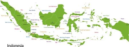 인도네시아의 행정 구역지도 일러스트