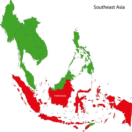 geographically: Location of Indonesia on Southeast Asia