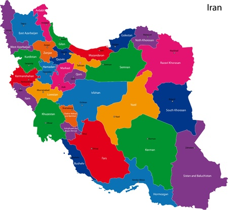 mapa politico: Map of administrative divisions of Iran