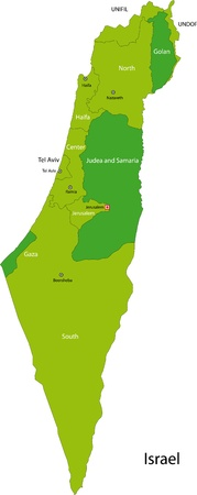 jeruzalem: Kaart van de administratieve afdelingen van Israël Stock Illustratie