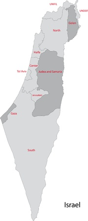 Map of administrative divisions of Israel Vector