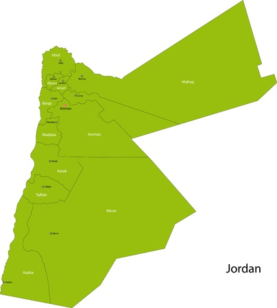 jordanian: Kaart van de administratieve afdelingen van de Jordaan Stock Illustratie