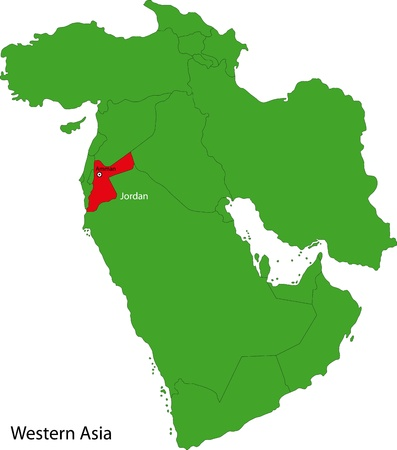 geographically: Location of Jordan on Western Asia