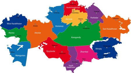 divisions: Map of administrative divisions of Kazakhstan Illustration
