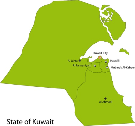 Map of administrative divisions of Kuwait Vector