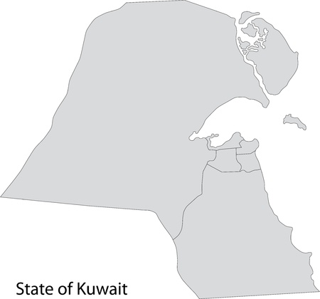 administrative divisions: Map of administrative divisions of Kuwait Illustration