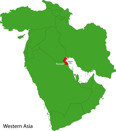 western asia: Location of Kuwait on Western Asia Illustration