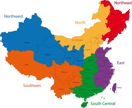 Map of administrative divisions of China Vector